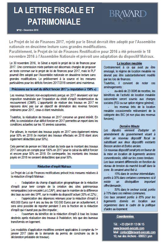 Lettre fiscale et patrimoniale n°12 - Dernières actualités législatives en matière fiscale