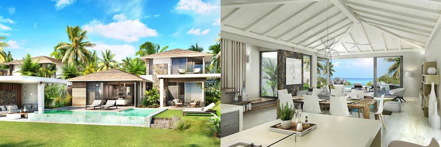 Villas neuves situées à l'Ile Maurice, aux abords d'un lagon et à proximité immédiate de l'océan