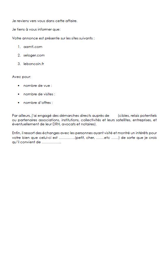 Modèle De Lettre Au Client Pour L Informer Des Démarches Et